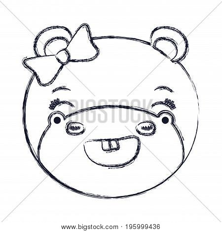 face of female hippo animal adorable expression smiling vector illustration