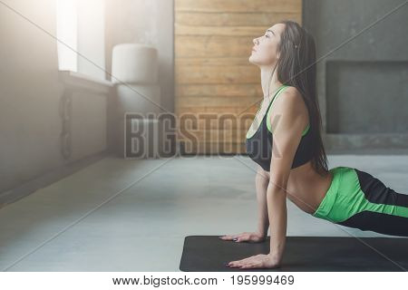 Woman in yoga class making upward-facing dog pose. Variation of svanasana for back startching. Healthy lifestyle in fitness club, copy space on wall