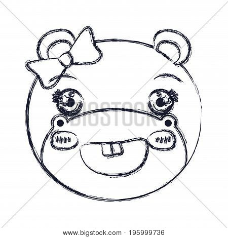 face of female hippo animal cute expression smiling vector illustration