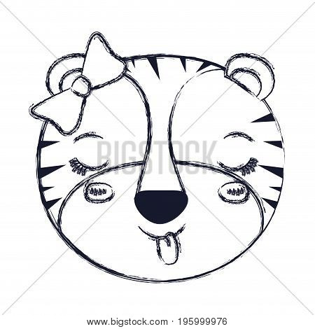 face of female tigress animal sticking out tongue expression vector illustration