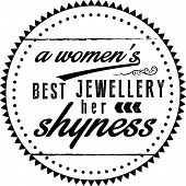 a women's best jewellery her shyness vector poster