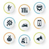 Vector Illustration Set Of Simple Service Icons. Elements Notice, Automobile Salon, Mechanic And Other Synonyms Repair, Appliances And Specialist. poster