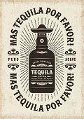 Vintage Mas Tequila Por Favor (More Tequila Please) Typography poster