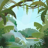 Tropical jungle landscape with waterfall and trees, rocks and sky. Green palm wood or forest with wild nature and bush foliage, waterfall stream or current at lake and shrubs. Rainforest flora theme poster