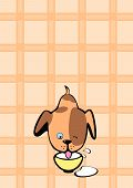 Little pup who drinks milk on a beige background. poster