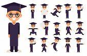 Graduation Cap Excellent Diploma Certificate Scroll Student School Genius Clever Smart Boy Uniform Suit Goggles 3d Character Vector Illustration poster