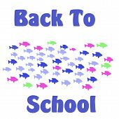 back to school sign assorted fish on white background poster
