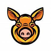 Pig head mascot emblem - vector image of swine head poster