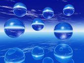 Rising  balls reflecting on a mirror surface - digital artwork. poster
