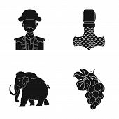 winemaking, travel and or  icon in black style.history, myth icons in set collection. poster