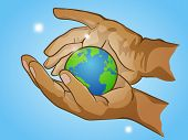 two hands holding planet Earth cherish the globe hand drawn vector illustration poster