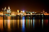 Night time Liverpool city reflections in to the Merseyside River poster