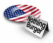 Political nothing burger or nothingburger phrase concept as an empty plate with an American flag representing fake news investigation or insignificant media information that lacks substance or guilt as a politics hoax 3D illustration. poster