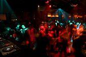 Nightclub dance crowd in motion poster