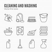 Clean wash line icons. Washing machine sponge mop iron vacuum cleaner shovel and other cleaning icon. Order in the house thin linear signs for cleaning service. poster