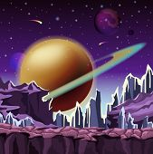 Ice rocks on cartoon planet scenery of landscape with falling comets and jupiter star with belt at sky. Relief or terrain panorama. Space and sci-fi, galaxy and cosmos, nature and universe theme poster