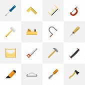 Set Of 16 Editable Equipment Flat Icons. Includes Symbols Such As Jointer, Knife, Emery Paper And More poster