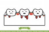 unhealthy teeth because gingivitis and bleeding - dental cartoon vector flat line style cute character for design poster