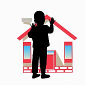 AN ORPHAN. ORPHANAGE. The silhouette of the boy and the house. Illustration for your design. poster