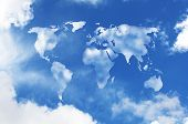 world map shaped clouds in the sky poster