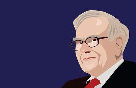 July, 2017:  Famous investor and economist Warren Buffett vector portrait on a blue background.