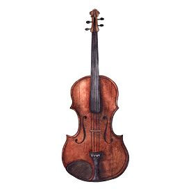 Watercolor wooden vintage violin fiddle musical instrument isolated