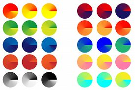 Brightly colored blue green yellow red black orange summer gradient circles wheels for your design and logo.