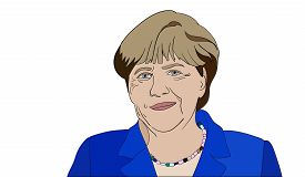 Editorial vector portrait of Angela Merkel, Chancellor of Germany on white background.