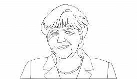 Editorial line vector portrait of Angela Merkel, Chancellor of Germany.