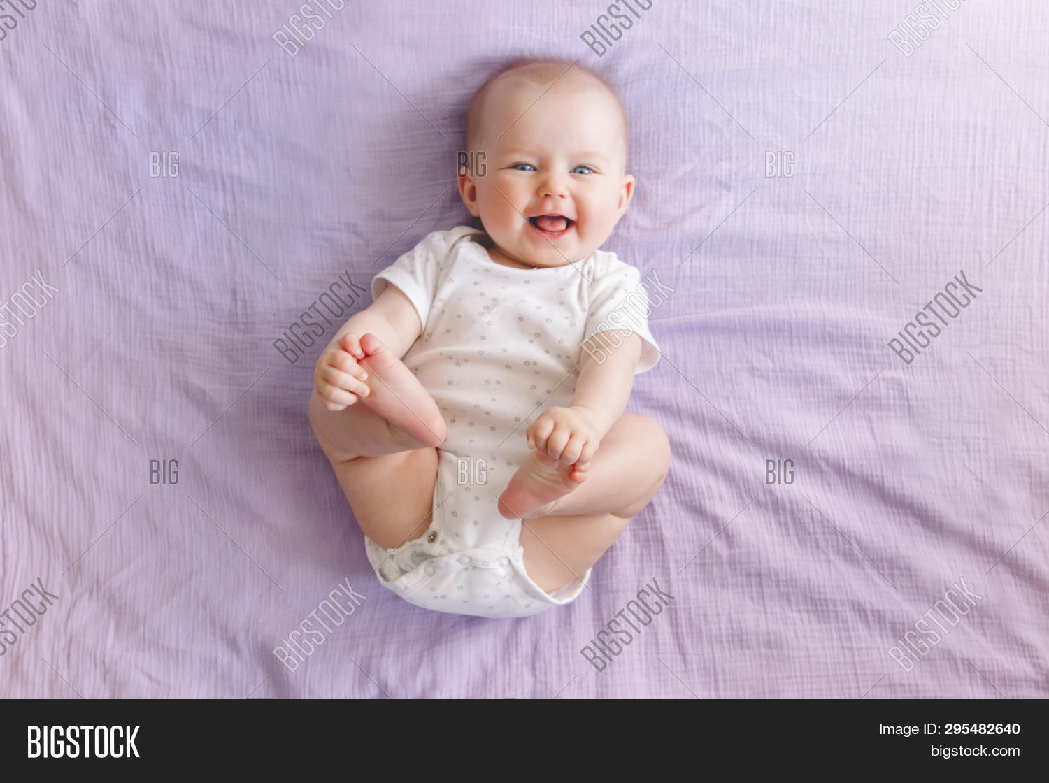 c9e7437f789c Portrait Of Cute Adorable Smiling Laughing White Caucasian Baby Girl Boy  With Blue Eyes Four Months