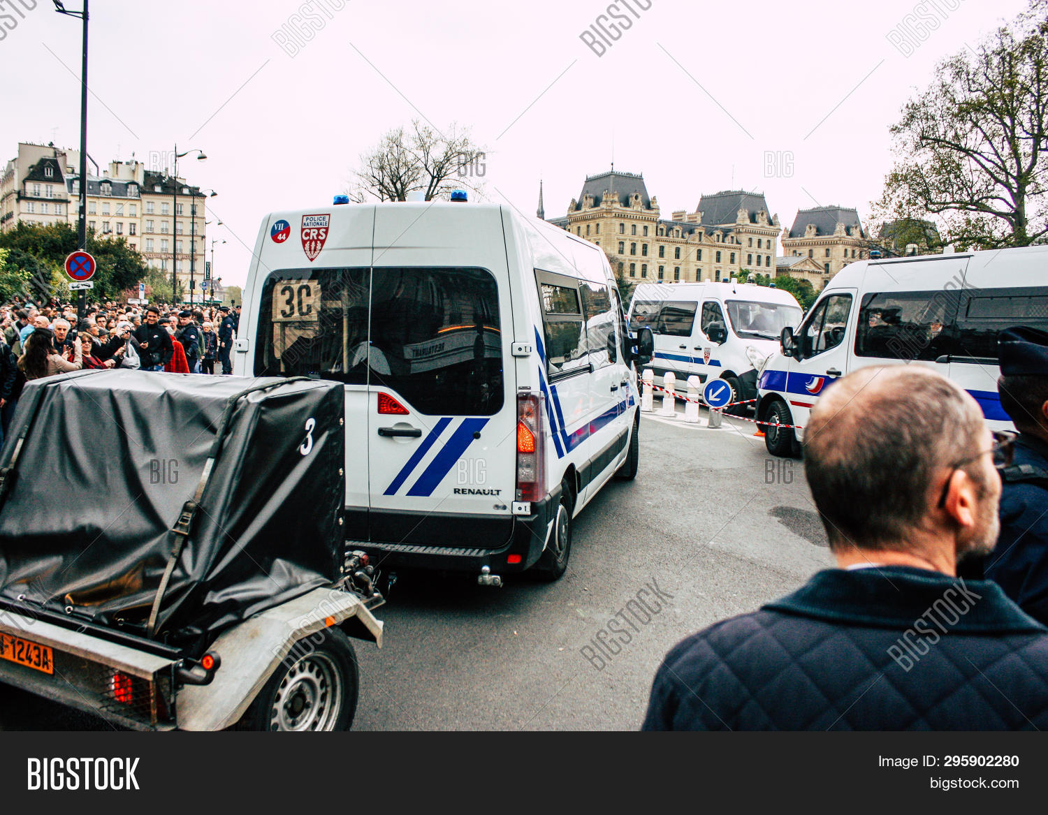 Paris France April 16, 2019 View Of A French Police Car Near The Notre Dame Cathedral In Paris The D