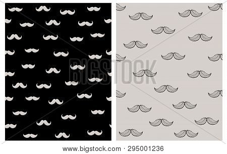 Vintage Moustaches Seamless Hand Drawn Pattern. Line Sketch Black Moustaches Isolated On A Warm Gray