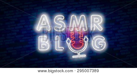 ASMR Neon Vector Text. Autonomous sensory meridian response neon sign, design template, modern trend design, night neon signboard, night bright advertising. Vector. Editing text neon sign poster