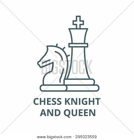 Chess Pieces, Knight And Queen Line Icon, Vector. Chess Pieces, Knight And Queen Outline Sign, Conce