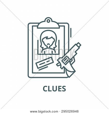 Clues Line Icon, Vector. Clues Outline Sign, Concept Symbol, Flat Illustration