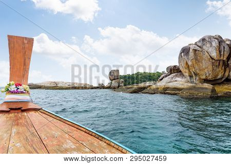 Ko Hin Sorn And Prow Of The Boat Travel In Summer, Is A Small Island With Stone Overlap Uncannily, T