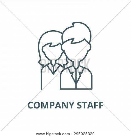 Company Staff Line Icon, Vector. Company Staff Outline Sign, Concept Symbol, Flat Illustration