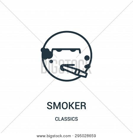 Smoker Icon Isolated On White Background From Classics Collection. Smoker Icon Trendy And Modern Smo