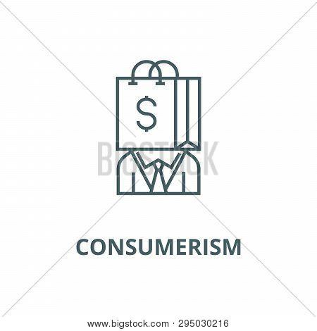 Consumerism Line Icon, Vector. Consumerism Outline Sign, Concept Symbol, Flat Illustration