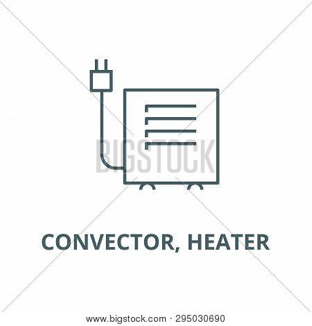 Convector, Heater Line Icon, Vector. Convector, Heater Outline Sign, Concept Symbol, Flat Illustrati
