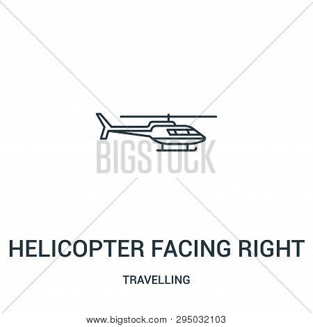 Helicopter Facing Right Icon Isolated On White Background From Travelling Collection. Helicopter Fac