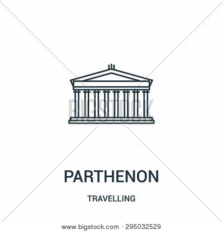 Parthenon Icon Isolated On White Background From Travelling Collection. Parthenon Icon Trendy And Mo