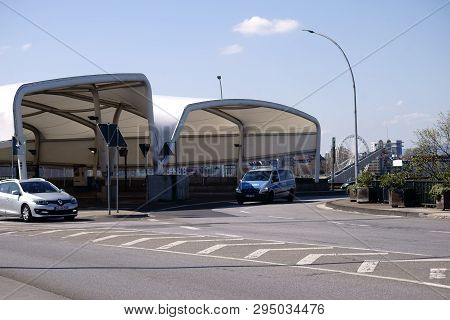 Mainz, Germany - April 07: Roundabout In Front Of The Covered Bus Station Of The Stop Brückenkopf In