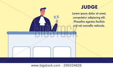 Judge Vector Web Banner Template With Text Space. Magistrate In Gown With Gavel. Stand In Courtroom.