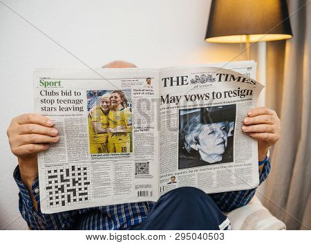 Paris, France - 29 Mar 2019: Senior Man Reading In Lving Room Latest British The Times Newspaper Uk