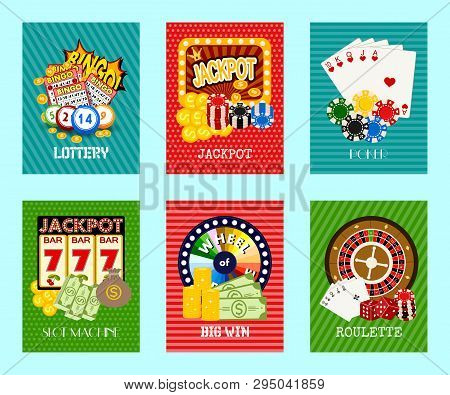 Casino Concept Set Of Cards Vector Illustration. Includes Roulette, Casino Chips, Playing Cards, Win