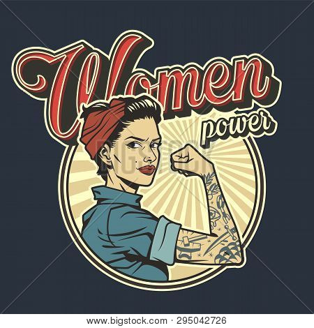 Vintage Colorful Woman Power Badge With Beautiful Strong Girl In Uniform With Tattoo On Arm Isolated