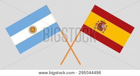 Argentina And Spain. The Argentinean And Spanish Flags. Official Colors. Correct Proportion. Vector
