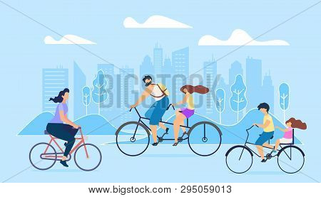 City Active Lifestyle Is Promoted. People Ride Bicycles Big City. Girl Goes Work On Bike Brother Dri