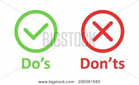 Dos And Donts Sign Icon In Flat Style. Like, Unlike Vector Illustration On White Isolated Background